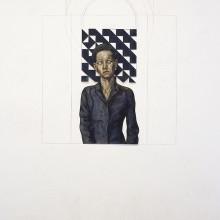 pattern meditation, öl auf papier, cutout auf wandmalerei, 2009
