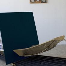 Rückkehr_stromauf, 2011, Rettungsboot, Papiertapete, Holz